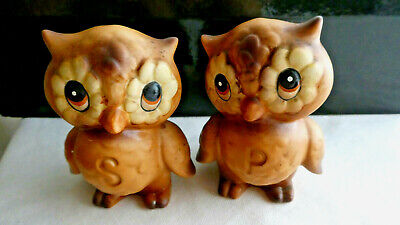 Owl salt and pepper shakers, vintage, made in Japan, Kitsch, very adorable eyes.