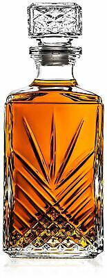 Lead Free Whiskey Decanter Carafe Liquor Crystal Glass Scotch Drinking 33 Oz NEW