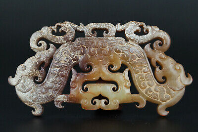 One Fine Chinese Ancient Han Jade Carving Dragon Phoenix Ornament Pendant 0034