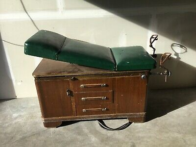 Vintage Hamilton Doctor's Medical Exam Wood Table with Stirrups, Drawers