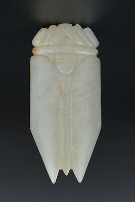One Fine Chinese Ancient Han Jade Carving Cicada Pendants 0038