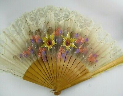Vintage Wood & Hand Painted Fabric Fan w/ Lace Detailing
