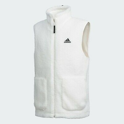 Adidas Sherpa Fleece Down Vest Full Zip Winter Wear Warm Jacket White FR5287
