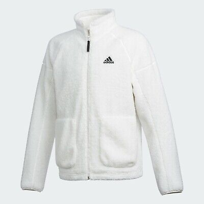 Adidas Sherpa Fleece Jacket Winter Warm Sportswear Outdoor White FR5283