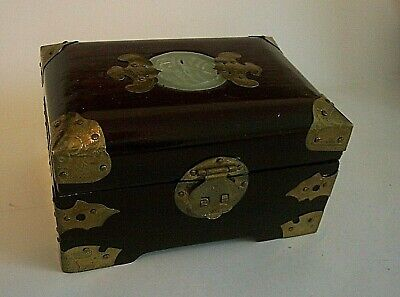 Vintage Chinese Rosewood Carved Jade Brass Jewellery Trinket Box Silk Lined