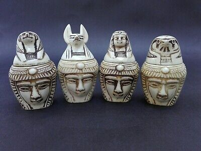 Vintage Collection Set Of 4 Egyptian Canopic Jars Organs Storage Statues Beauty