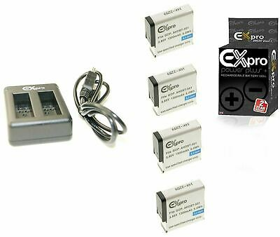Ex-Pro AHDBT-501 Battery (4 PK) + 2 Channel Charger for GoPro Hero 5 Hero 6 7