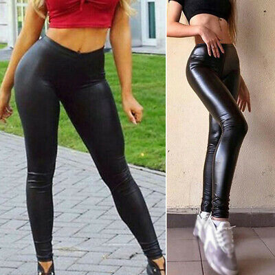 Women High Waist Pants Faux Leather Wet Look Leggings Stretch Plus Size Trousers