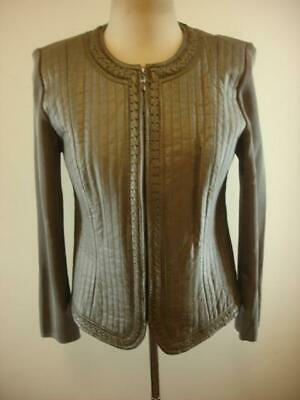 Womens M Nygard Collection Gray Leather Stretch Knit Jacket Long Sleeve Zip-Up