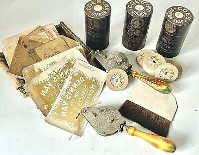 Antique New Old Stock 3 X COE'S GOLD RIBBON TUBES & 2 x TOOLS + Brush & Stickers