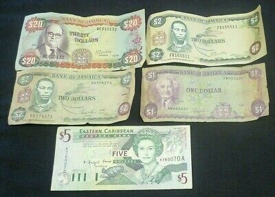 Jamaica $20,(2) $2,& $1 Notes + East Caribbean $5 Note World Currency  (8547)