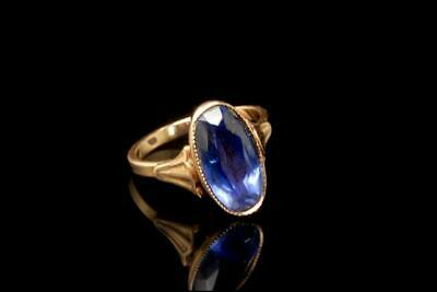 Old Victorian Style Blue Sapphire 14K Yellow Gold Ring A51715
