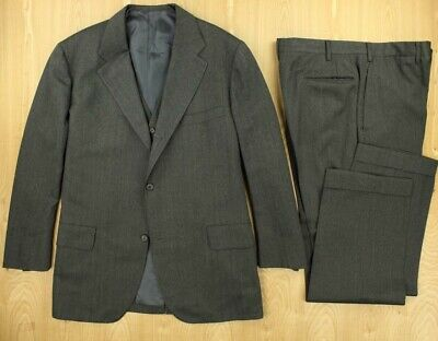 vtg BROOKS BROTHERS 3/2 roll 3 piece suit size 45 ML 38 x 31 pants ivy trad