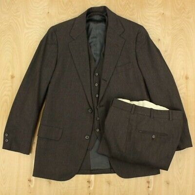 vtg brooks brothers 3/2 roll 3 pc suit 40R tag 32 x 28 pants brown ivy trad