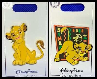 Disney Parks 2 Pin lot LION KING Simba 3D enameled beautiful + color background