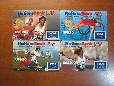 Phonecards VISA CASH CARD 1996 NATIONSBANK USA $20x2 - $50 - $100 USED