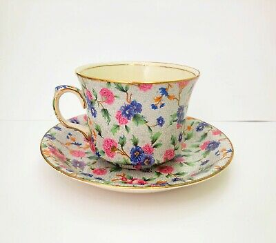 Royal Winton Old Cottage Chintz Teacup and Saucer Floral Design Pink China