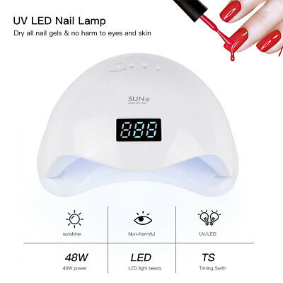 48W SUN5 Nail Dryer Light LED UV Smart Curing Nail Lamp for Nails Polish Gel