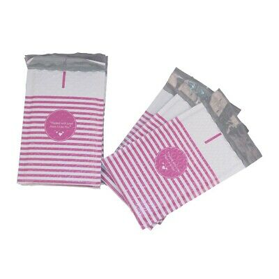 25 4x8 Packed with Love from Us to You Pink Stripe Poly Bubble Envelopes Mailers