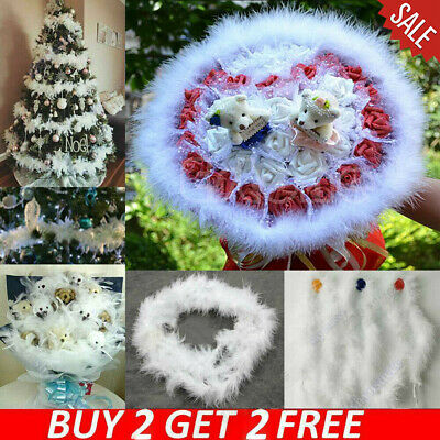 5Pcs Fluffy Feather Boa Strip-Fancy Makeup Party Wedding Xmas-Decoration 2M US!