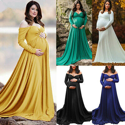 Pregnant Women Off Shoulder Maternity Maxi Long Dress Photography Props Gown