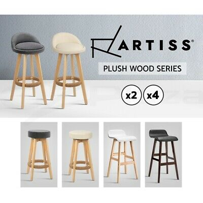Artiss Kitchen Bar Stools Wooden Bar Stool Chairs Swivel Barstools Leather Grey