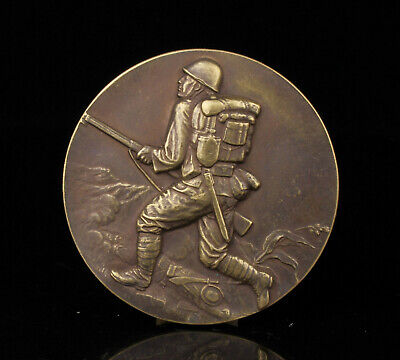 China Old Collectible Hand-Carved Bronze Japanese Soldiers Commemorative COINS