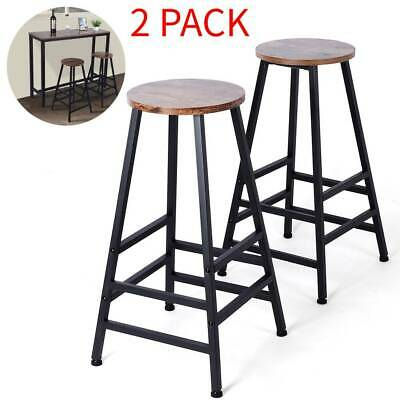 Set of 2 Bar Chic Stools Kitchen Breakfast High Chair Wooden Metal Pub Home Seat