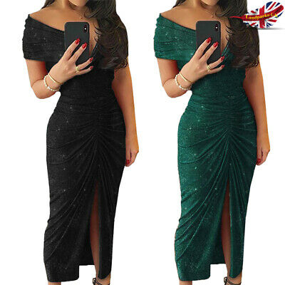 Women Glitter Evening Slit Party Dress Bodycon Cocktail Off Shoulder Ruched Club