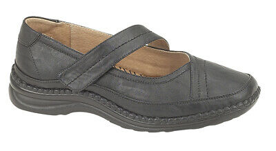 Ladies Wide Fitting Shoes EEE Black Touch Fastening Bar 3 - 9