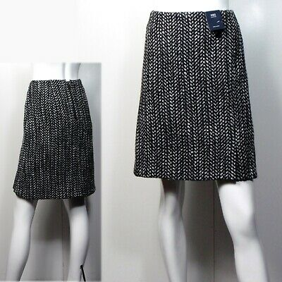 "27/"" long M/&S Classic A-LINE Knee Length SKIRT with WOOL ~ Size 14 ~ NAVY CHECK"