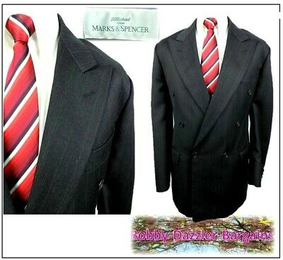 """M&S Mens Double Breasted 2 piece suit Ch42""""R W38"""" L31"""" Charcoal stripe"""