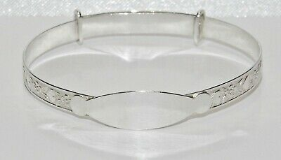 NEW Solid Sterling Silver 925 Expanding Baby Bangle - with ID Plate