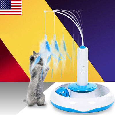 USA Feather Teaser Cat Toy Multifunction Interactive Rotating Pet (only feather)