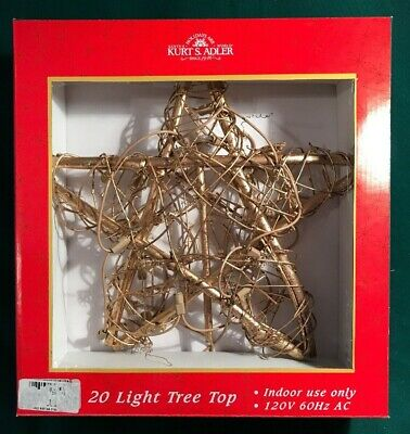 Kurt Adler GOLD Vine & Twig Rattan 20-light STAR Tree Top lighted topper