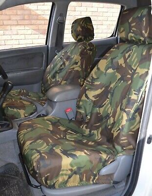 Tailored Waterproof Front Black Seat Covers FOR Toyota Hilux Invincible 2005-16