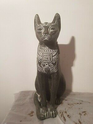 Rare Antique Ancient Egyptian Statue God Bastet Cat Protection Scarab1760-1680BC