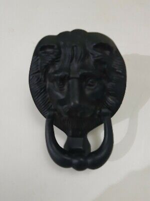 Black Cast Vintage Style Lions Head Door Knocker