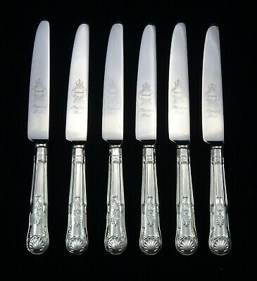 "6 Heavy Vintage Silver Plated Kings Pattern Dessert Knives 8.5"" Sheffield Epns"