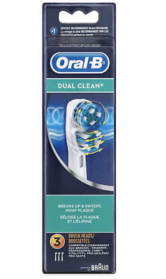 2019 New 3x Braun Oral B DUAL CLEAN Replacement Brush Heads Refill