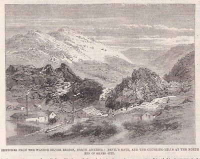 1862 Two Antique Prints - NEVADA SILVER MINING - Washoe Region - Silver City