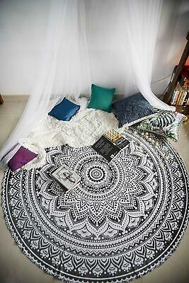 Indian Round Tapestry Gray Ombre Mandala Cotton Roundie Beach Towel Table Cover