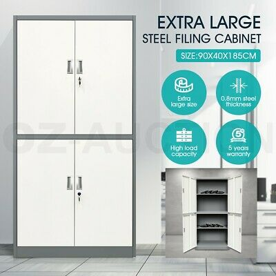 Dark Grey & White Filing Cabinet Document Storage Lockable Adjustable 185CM