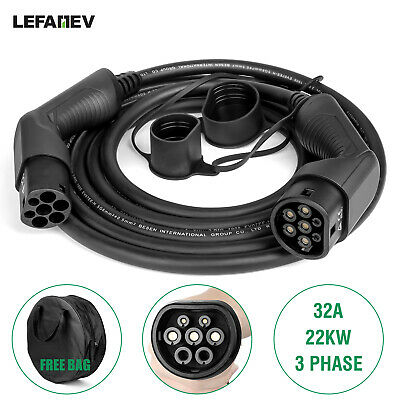 EV charger cable Type 2 to Type2. 5M 32A 3 Phase charging up to 22 kwh. with Bag