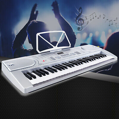 New 61 Keys Digital Music Electronic Keyboard Piano Organ Microphone Set Silver