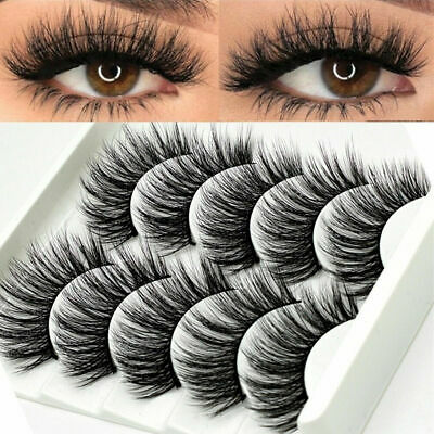 5Pair 3D Mink False Eyelashes Wispy Cross Long Thick Soft Fake Eye Lashes