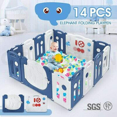 14 Panel Elephant Design Kids Baby Playpen Safety Gate Toys w/ Drawing Board