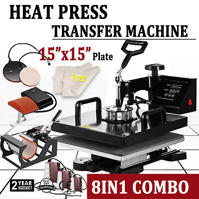 "8 in 1 15""x15"" Heat Press Machine Digital Transfer Sublimation T-Shirt Mug Hat"