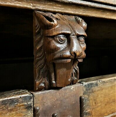 Gothic roaring lion ornament furniture Antique french salvaged carving sculpture