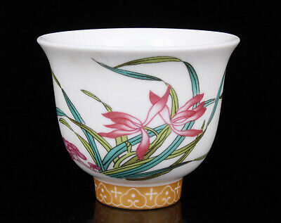 China Collectible Colored Drawing Orchid Jingdezhen Porcelain Cups